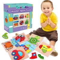 6 Pack Wooden Jigsaw Puzzles Wooden Color Shapes Puzzles For Toddlers Ages 18 Months And Up Boys