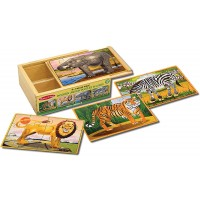 Melissa Doug Wild Animals 4In1 Wooden Jigsaw Puzzles In A Box 48