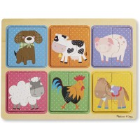 Melissa Doug Natural Play Wooden Puzzle Farm Friends 6 2Piece Animal Puzzles Great Gift For 2 3 And
