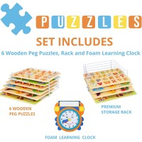 Wooden Toddler Puzzles And Rack Set 6 Pack Bundle With Storage Holder Rack And Learning Clock Kids