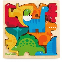 Dinosaur Puzzle 3D Wood Jigsaw For Toddlers Kids Age 3 11X 11 X 5 Bright Colorful Shape Sorting