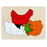 Hape Chicken Friends George Luck Wooden Layers