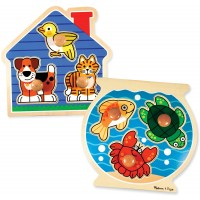 Melissa Doug Animals Jumbo Knob Wooden Puzzles Set Fish And