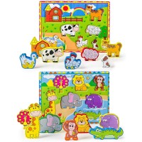 Okiki Chunky Wooden Puzzles For Toddlers Wild And Farm Animals 14 Thick Pieces With Full Board