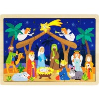 O Holy Night Nativity Scene 24Piece Wooden Christmas Jigsaw Puzzle With Inset Frame By Imagination