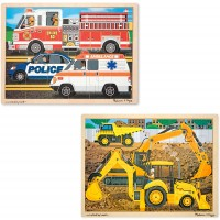 Melissa Doug Vehicles Wooden Jigsaw Puzzles Set Construction And Rescue 24