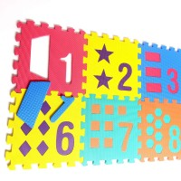 Numbers And Shapes Rubber Eva Foam Puzzle Play Mat Floor 10 Interlocking Playmat Tiles Tile12X12