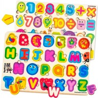 Alphabet Number Wooden Puzzle Set With Color Shapes Abc Animal Matching Games For Toddlers 2 3 4 5