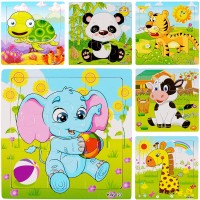 6Pack Wooden Jigsaw Puzzles Age 25 Animals Preschool Puzzles For Toddler Children Learning