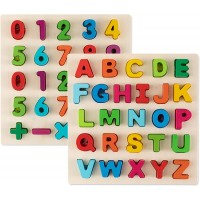 Toy To Enjoy Alphabet Puzzles Wooden Upper Case Letter And Number Learning Board Toy Ideal For