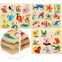 Bundaloo 3 Piece Puzzle Set With Wire Rack Wooden Animal Puzzles For Babies Toddlers And Preschool