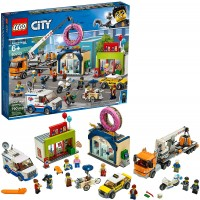 Lego City Donut Shop Opening 60233 Store Build And Play With Toy Taxi Van Truck