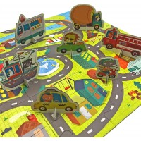 Mudpuppy 9780735347687 Galison Around The Town Jigsaw Puzzle 36Piece City Streets Map 8 Vehicle
