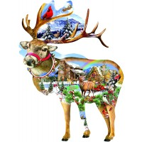 Reindeer Training Shaped 800 Piece Jigsaw Puzzle By