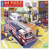 Eeboo Fire Truck In The City Jigsaw Puzzle Ages 5 Years And Up 64