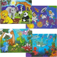 Elly Andy Set Of 4 Wooden Puzzles 60 Pcs Dinosaur Safari Ocean Space Designed In The Usa Ages 37