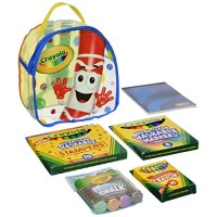 Crayola Art Buddy Pip-Squeak Character Backpack & Tools Kit Portable Creativity for Kids in Clear Easy Travel Includes Markers Stampers Crayons Sidewalk Chalk Drawing Pad