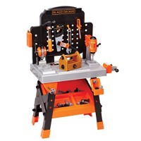 BLACK + DECKER Power Tool Workshop - Play Toy Workbench for Kids with Drill Miter Saw and Working Flashlight Build Your Own Box 75 Realistic Tools Accessories