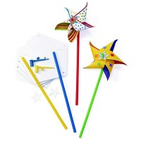 Colorations DIY Pinwheel for Kids Kit 24 Paper Craft Arts & Crafts Wind STEM STEAM Garden Play Party Spinner Toy Latex-Free