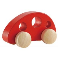 Hape Mini Van Wooden Toddler Toy Vehicle in Red