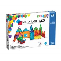 Magna-Tiles 48-Piece Clear Colors DELUxE Set The Original Award-Winning Magnetic Building Tiles for Kids Creativity and Educational Toys Children STEM Approved