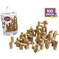 Wooden Blocks - 100 Pc Wood Building Block Set with Carrying Bag and Container Natural Colored 100% Real