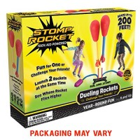 Stomp Rocket Dueling Rockets 4 and Launcher - Outdoor Toy Gift for Boys Girls Ages 6 Years Up Great Play with Friends in The Backyard Parks