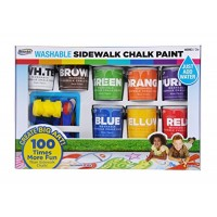 RoseArt Washable Sidewalk Chalk Paint Big Super Set with 8 Colors & 2 Foam Brushes