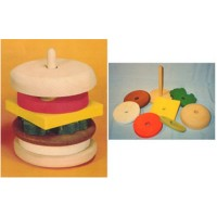 THE PUZZLE-MAN TOYS W-1002 Wooden Educational Stack Toy Hamburger