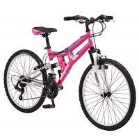 Mongoose Exlipse Full Dual-Suspension Mountain Bike for Kids Featuring 15-Inch/Small Steel Frame and 21-Speed