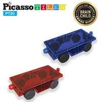 PicassoTiles 2 Piece Car Truck Set w/ Extra Long Bed & Re-Enforced Latch Magnet Building Tile Magnetic Blocks -Creativity Beyond Imagination! Educational Inspirational Conventional& Recreational!
