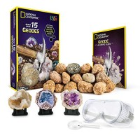 NATIONAL GEOGRAPHIC - Break Open 15 Premium Geodes Includes Goggles Detailed Learning Guide & 3 Display Stands Great Stem Science Gift for Mineralogy Geology Enthusiasts of Any Age