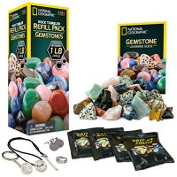 NATIONAL GEOGRAPHIC Rock Tumbler Refill Kit - Gemstone Mix of 9 varieties including Tiger's Eye Amethyst and Quartz Comes with 4 grades Grit Jewelry Fastenings detailed Learning Guide