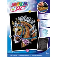 Sequin Art Blue Horse Sparkling Arts and Crafts Picture Kit; Creative for Adults Kids