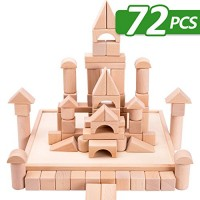 iPlay iLearn Kids Wooden Building Block Set 72 PCS Wood Castle Blocks Kit Natural Stacking Cubes Educational Montessori Toy for Age 3 4 5 Year Olds Up Children Preschoolers Boys Girls
