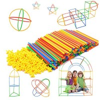 Straw Constructor STEM Building Toys 300 pcs-Colorful Interlocking Plastic Enginnering Toys- Fun- Educational- Safe for Kids- Develops Motor Skills-Construction Blocks- Best Gift Boys and Girls