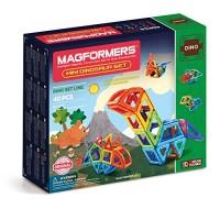 Magformers Mini Dinosaur Set 40 Pieces Rainbow Colors Magnetic Building Blocks Educational Tiles Kit Construction STEM Animal Toy