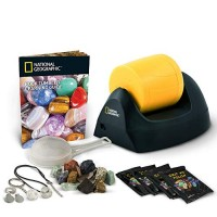 NATIONAL GEOGRAPHIC Starter Rock Tumbler Kit-Includes Rough Gemstones 4 Polishing Grits Jewelry Fastenings & Detailed Learning Guide - Great Stem Science Kit For Mineralogy Geology Enthusiasts