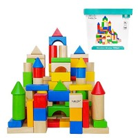 Cubbie Lee Premium Wooden Building Blocks Set - 100 pc for Toddlers Preschool Age Classic Hardwood Plain & Colored Small Wood Block Pieces Boys Girls Build Play Toy