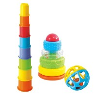 PlayGo Rattle & Stack Combo Playset Includes Eight Stacking Nesting Cups Ball & Rattle Stacking Toy
