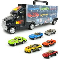 Big Mo's Toys Transport Car Carrier Truck - with 6 Stylish Metal Racing Cars