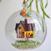 Flever Dollhouse Miniature DIY House Kit Creative Room with Furniture and Glass Cover for