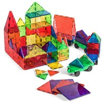 Jack & Roo Mag Builders 104-Piece Magnetic Tiles with Storage Case 100-Piece Blocks Set and 4 Car