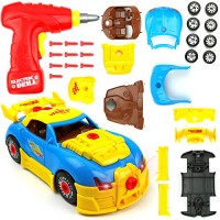 Big Mo's Toys 661-184 Build Your Own Race Car - STEM Toy Racing for Kids Gift Yellow