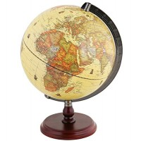 Exerz Antique Globe 10 25 cm Diameter with A Wood Base Vintage Decorative Political Desktop World - Rotating Full Earth Geography Educational for Kids Adults School Home Office Dia 10-inch