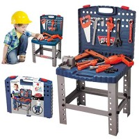 68 Piece Kids Toy Workbench W Realistic Tools and Electric Drill for Construction Workshop Tool Bench STEM Educational Play Pretend Birthday Gifts Toolbox age 3 - 10 yrs old