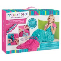 Make It Real - Knot and Bling Mermaid Tail Blanket Educational DIY Arts Crafts Kit Guides Kids to Create a Knotted Fleece Sequin Wearable