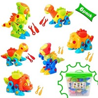 Dinosaur Toys Take Apart With Tools 218 pieces - Pack of 6 Dinosaurs 12 And a Beautiful Container Stem for Boys & Girls Age 3 years old