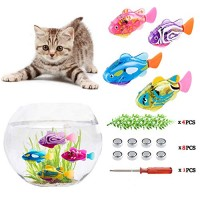 xYKTGH Swimming Robot Fish Toy for Kids with LED Light Mini Aquarium 2020 New Bath Toys Interactive Plastic 4 pcs Electronic Cat Gift to Stimulate Your Pet's Hunter Instincts