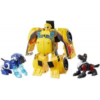 Playskool Heroes Transformers Rescue Bots Bumblebee Guard 10-Inch Converting Toy Robot Action Figure Lights and Sounds Toys for Kids Ages 3 Up